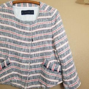 Zara || basics striped cropped tweed jacket